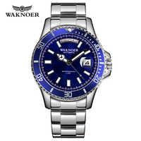 WAKNOER Automatische Uhr Klassische Design Männer Edelstahl 5ATM Wasserdicht Leucht Kalender Auto Datum Luxus Armbanduhr Montre Homme