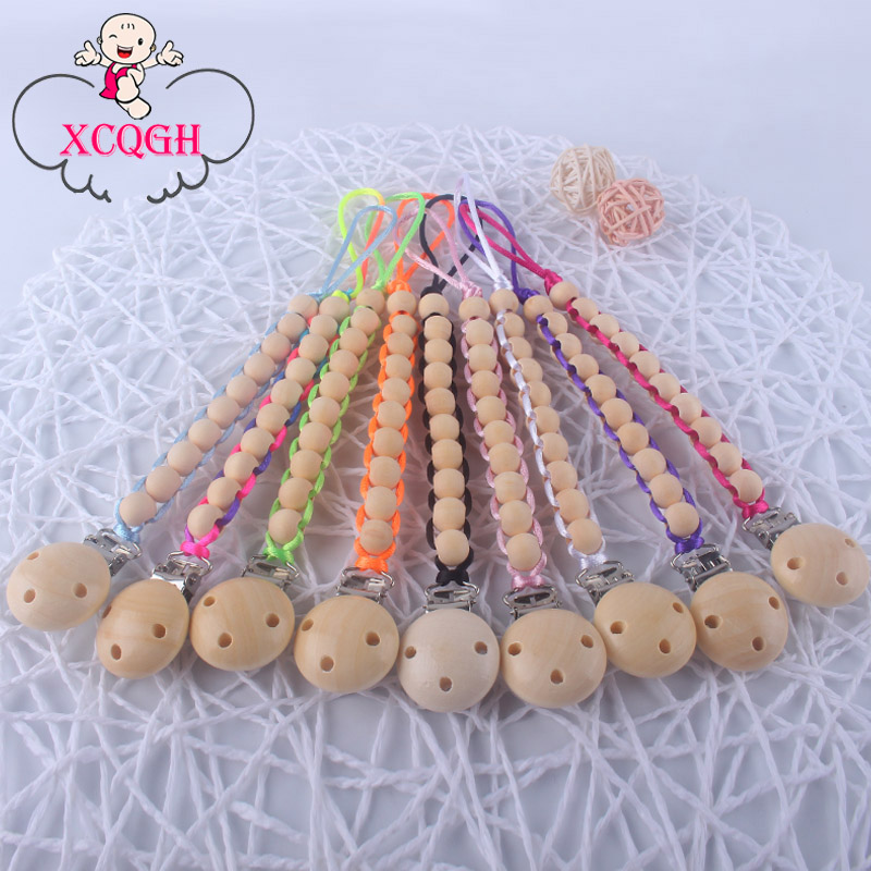 XCQGH 1Pcs Handmade Wooden Beads Braid Pacifier Holder For Infant Newborn Baby Dummy Feeding Wood Pacifiers Clip