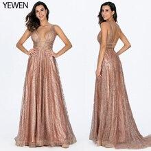 Роскошное блестящее Золотое сексуальное вечернее платье с глубоким v-образным вырезом и карманами с декольте, вечернее платье с открытой спиной для выпускного вечера, женское элегантное длинное вечернее платье