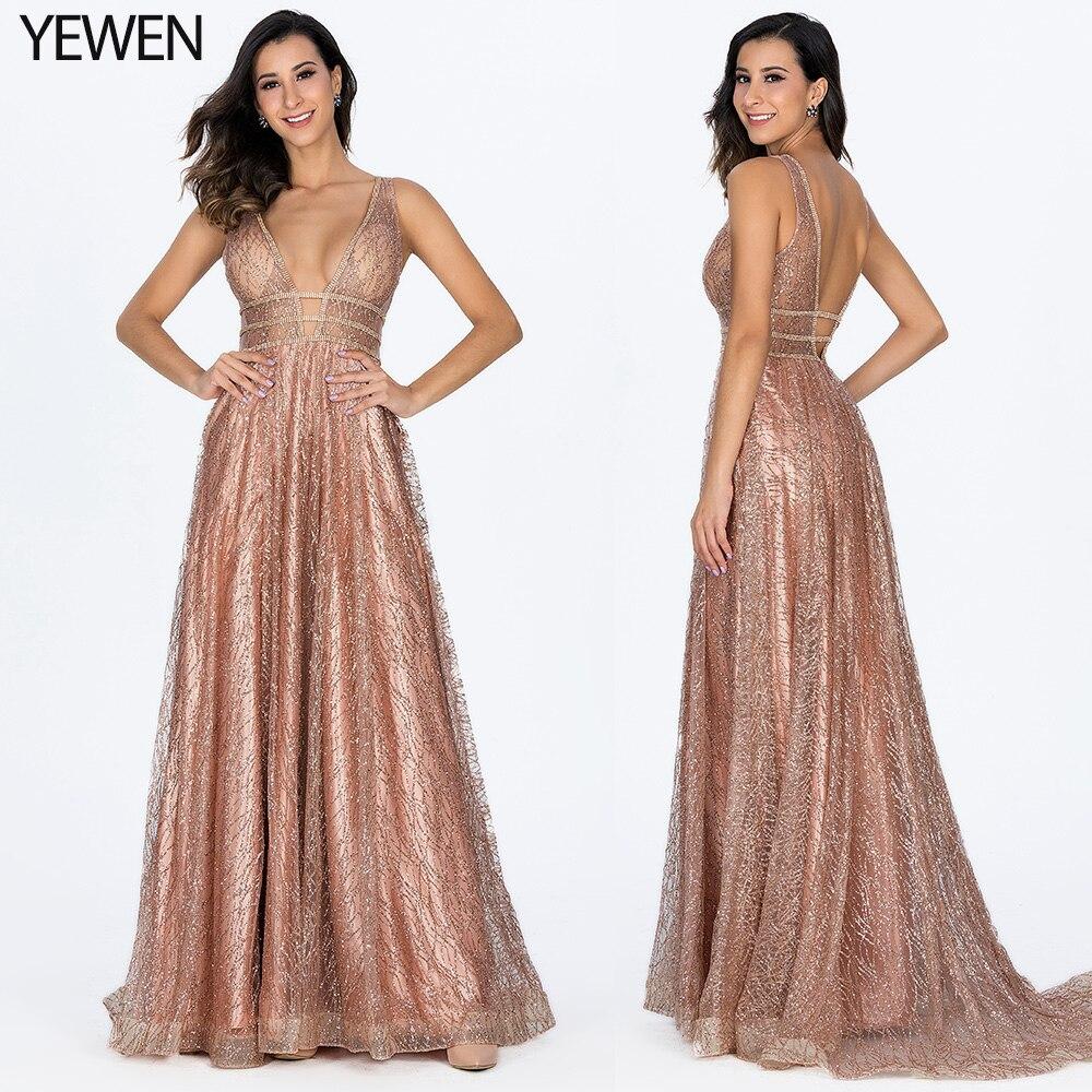 Decollete Pocket Luxury Bling Gold Deep-V Sexy Evening Dresses 2019 Backless Prom Formal Dress Women Elegant Evening Gowns Long