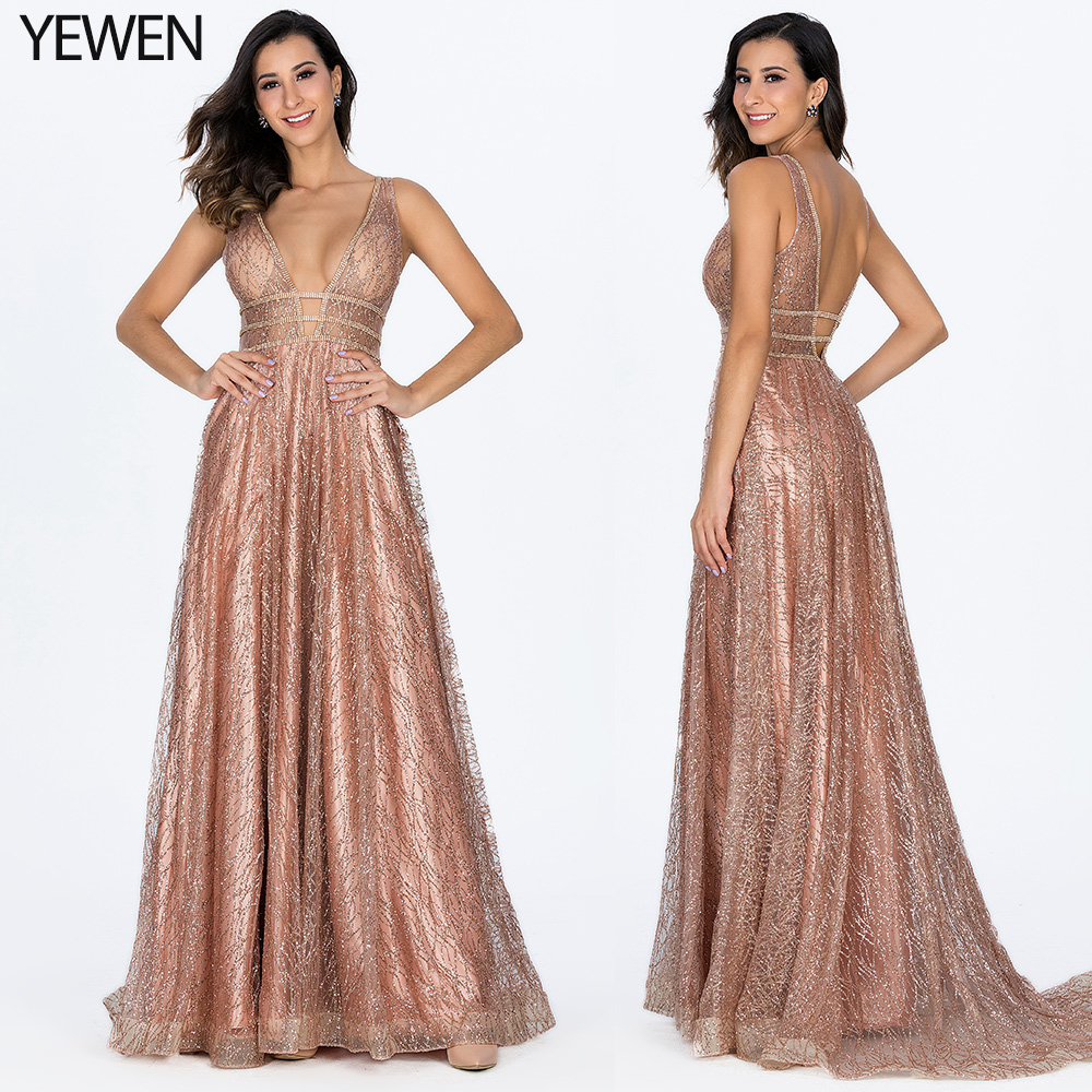 Decollete Pocket Luxury Bling Gold Deep-V Sexy   Evening     Dresses   2019 Backless Prom Formal   Dress   Women Elegant   Evening   Gowns Long