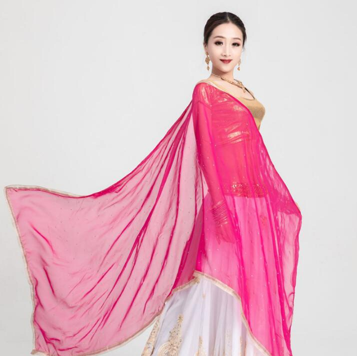 Wholesale India Woman Saree Belly Dance Leng Ha Shawl Beautiful Large Comfortable Dance Travel Scarf