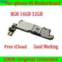 8 GB/16 GB/32 GB para iphone 4S Placa base con sistema operativo, Original desbloqueado para iphone 4S placa base con Chips completos, envío gratis