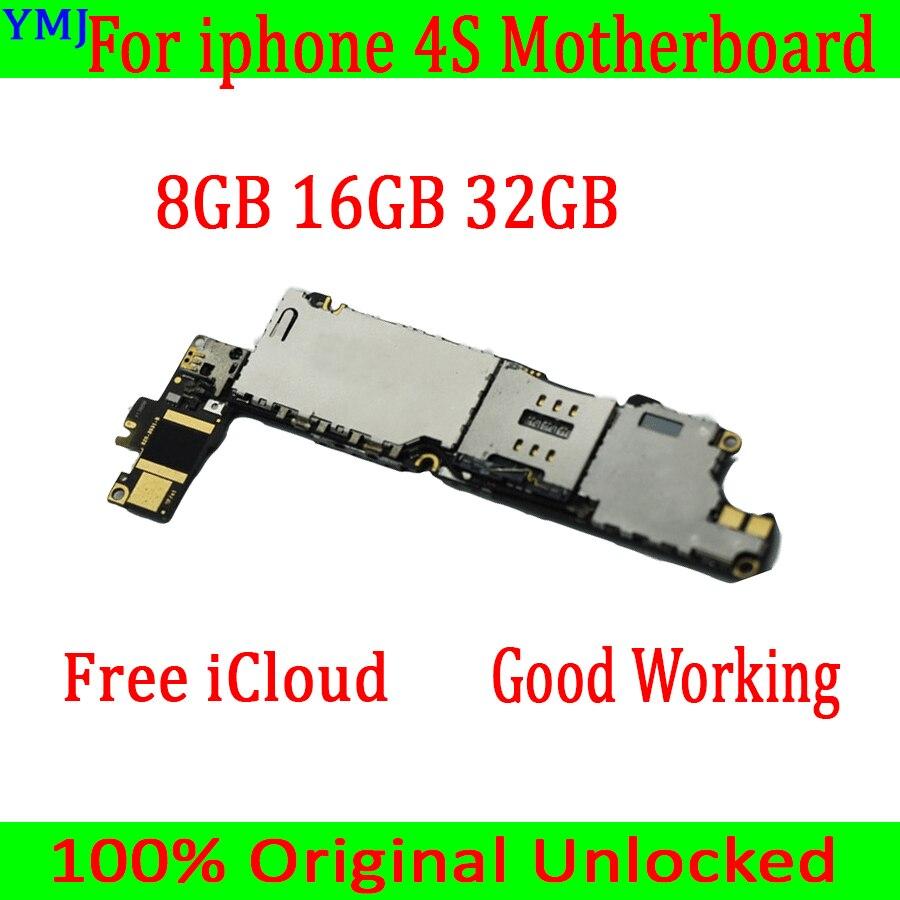 8 gb/16 gb/32 gb para iphone 4S placa-mãe com sistema operacional, original desbloqueado para iphone 4S mainboard com chips completos, frete grátis