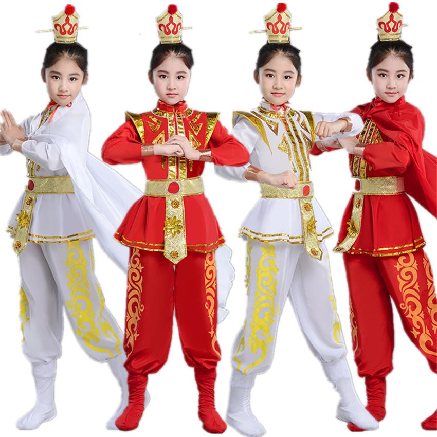 Kids Hua Mulan Cosplay Costumes Traditional Chinese Stage Performance Party Clothing Ancient Soldier Drama Dance Dress 110-160CM