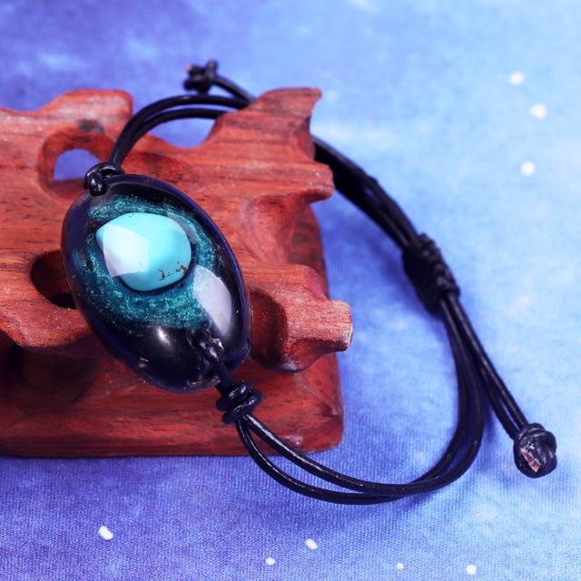 Orgonite pulseira natural turquesa energia pulseira charme cura jóias pulseira reiki obsidiana meditação pulseira para mulher 2