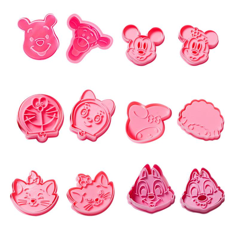 2 Pcs/Set DIY Cartoon Biscuit Mould Cookie Cutter 3D Cartoon Biscuits Mold  ABS Plastic Baking MouldCookie Decorating Tools