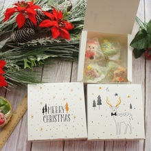 14*14*5cm 10pcs white Merry Christmas elk design Paper Box cookie Macaron DIY Party favors Gifts Packaging