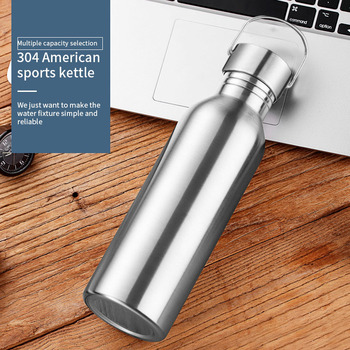 Stainless Steel Sports Water Bottle with Drinking Straw lids Cap Vacuum Flask Single Wall Hot Cold Water Bottle 500/750/1000ml 5