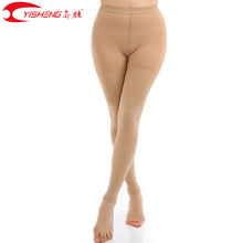 YISHENG 23 32mmHg Medical Compression Calze e Autoreggenti Delle Donne Collant Calze Open Toe per Le Vene Varicose