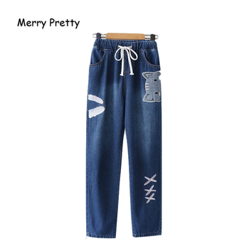 Merry Pretty Women Jeans Pants Cartoon Cat Embroidery Pockets Denim Pants Elastic Waist Straight Drawstrin Jean Pants Mom Jeans
