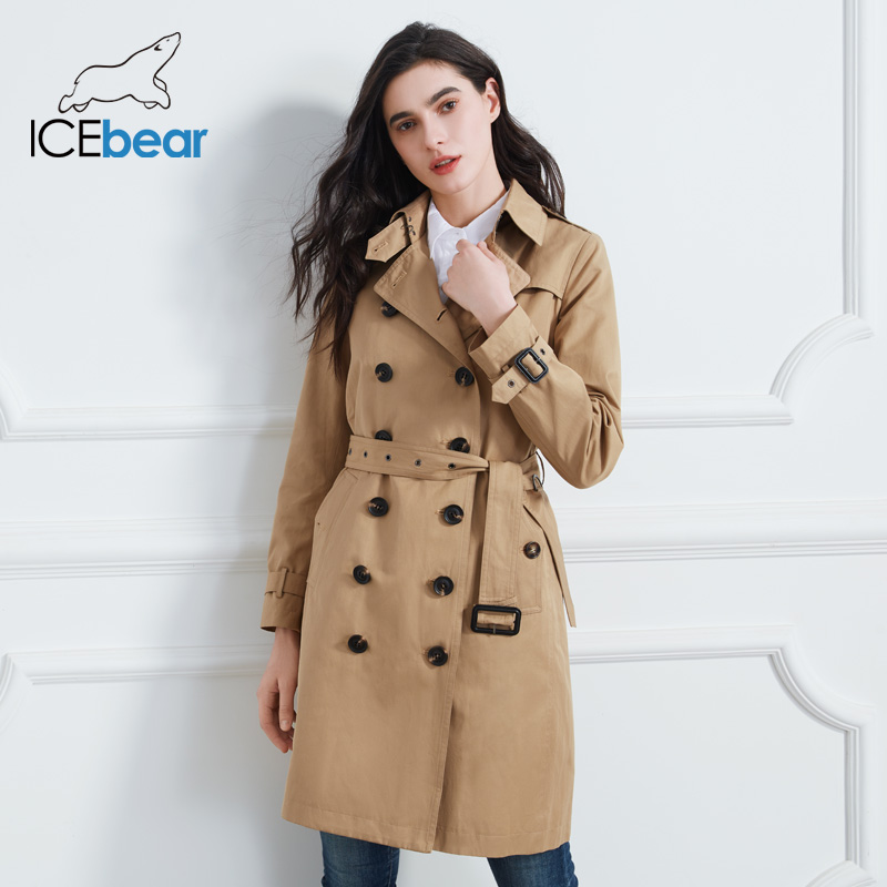 ICEbear 2020 Women spring lapel windbreaker fashion double breasted women's trench coat quality women clothing GWF20023D(China)