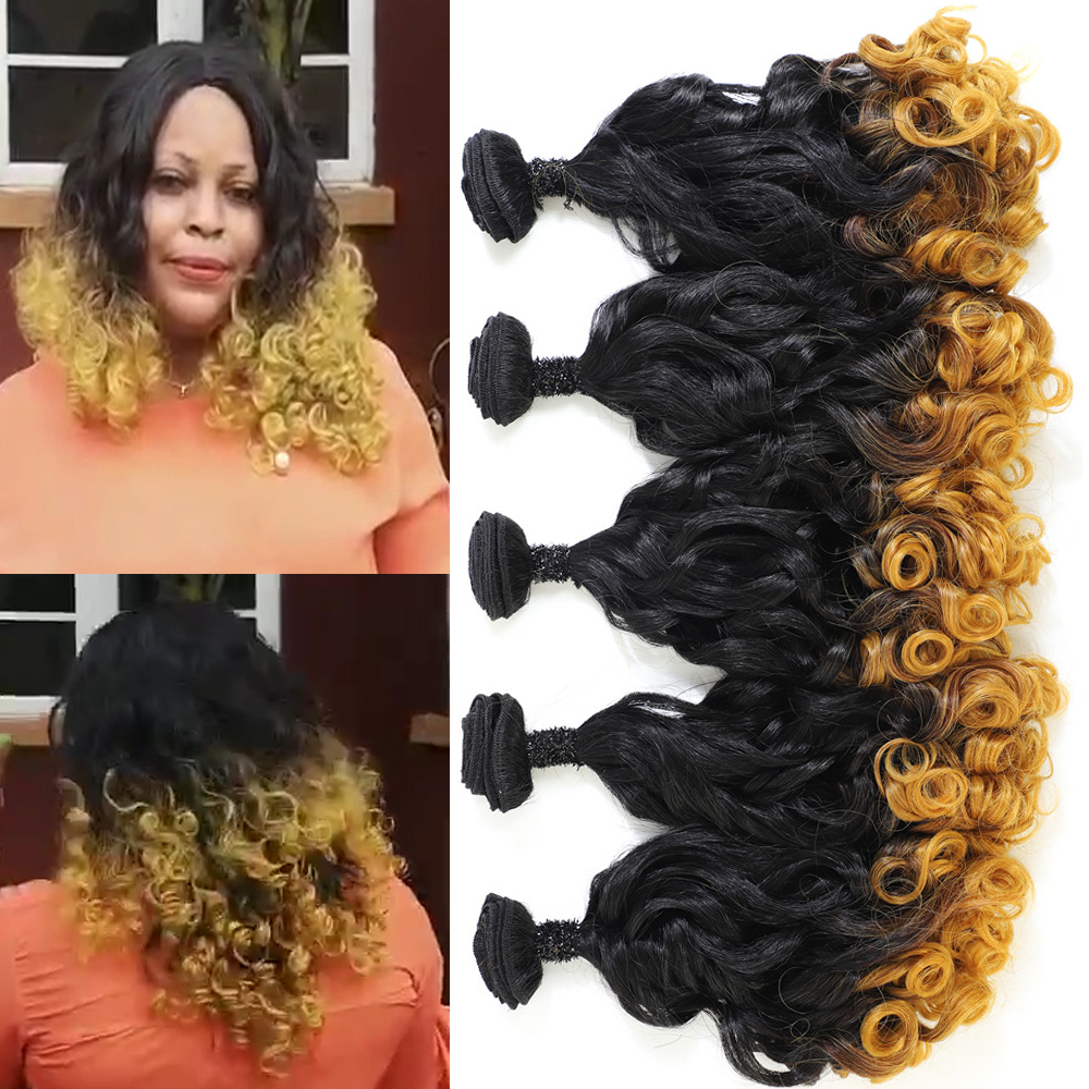 Synthetic Curly Hair Bundles Egg Curl Hair Weaves 5 Bundles 240g All In One Pack Ombre color T144 Heat Resistant Hair Extension