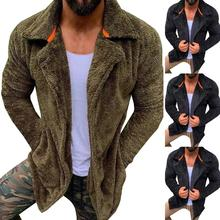 Mens Winter Autumn Casual Cardigan Jacket Cozy Warm Teddy Bear Coat Outwear
