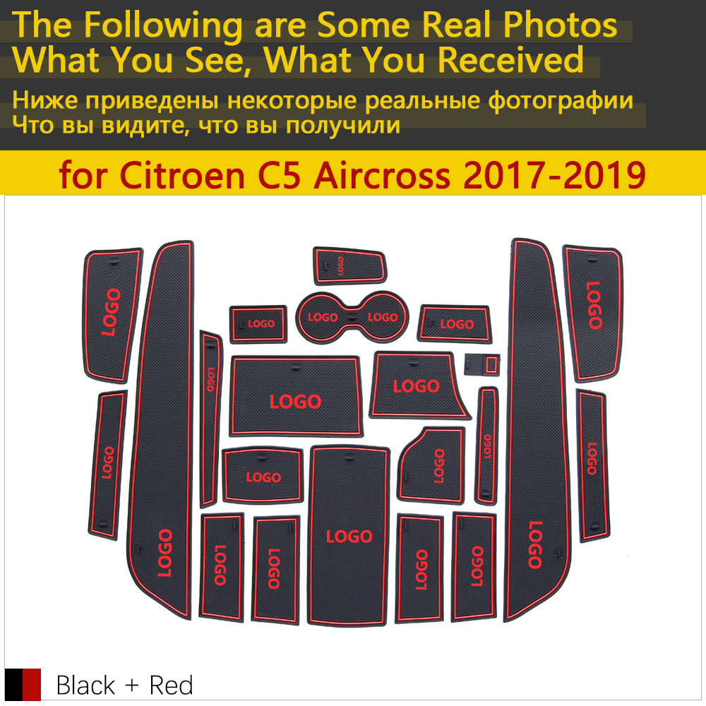 Image 2 - Anti Slip Rubber Cup Cushion Door Groove Mat for Citroen C5 Aircross 2017 2018 2019 22Pcs C5 Aircross Accessories Car Stickers-in Car Stickers from Automobiles & Motorcycles