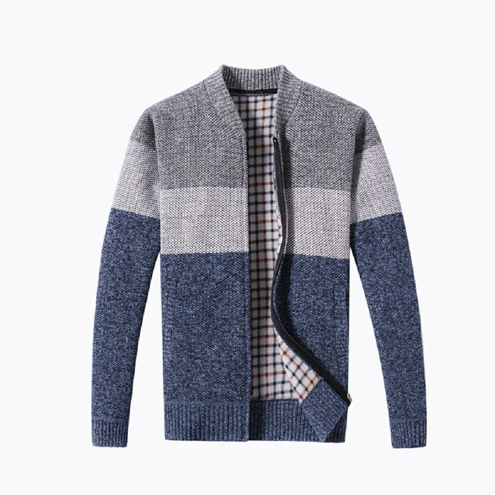Fashion Men Sweaters Knitted Cardigan Zip-up Slim Fit Jumper Long Sleeve Jacket Thick Tops Winter Warm Tops