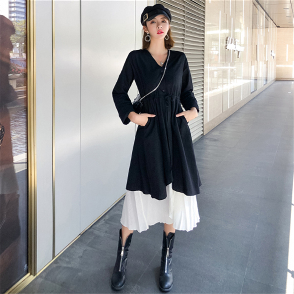 Women Elegant Vintage V Neck Black Two Piece Set Dress Casual Long Sleeve Suits Mid Long Dresses 2020 Spring Woman Clothes D492