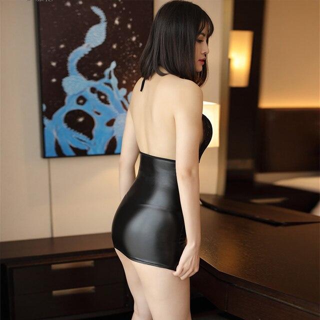 Sexy slim lace pu stitching dress Summer open chest backless short dress Massry 2019 fashion Sling mini women's bodycon clothing 4