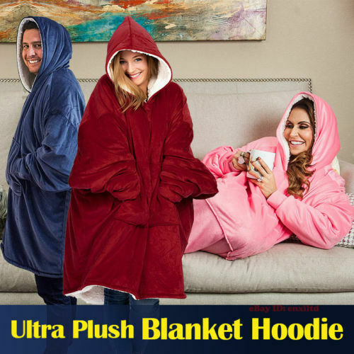 Microfiber Plush Coral Fleece Sherpa Blanket With Sleeves Super Soft Warm Outdoor Pocket Hoodie Adult Winter Hooded TV Blankets