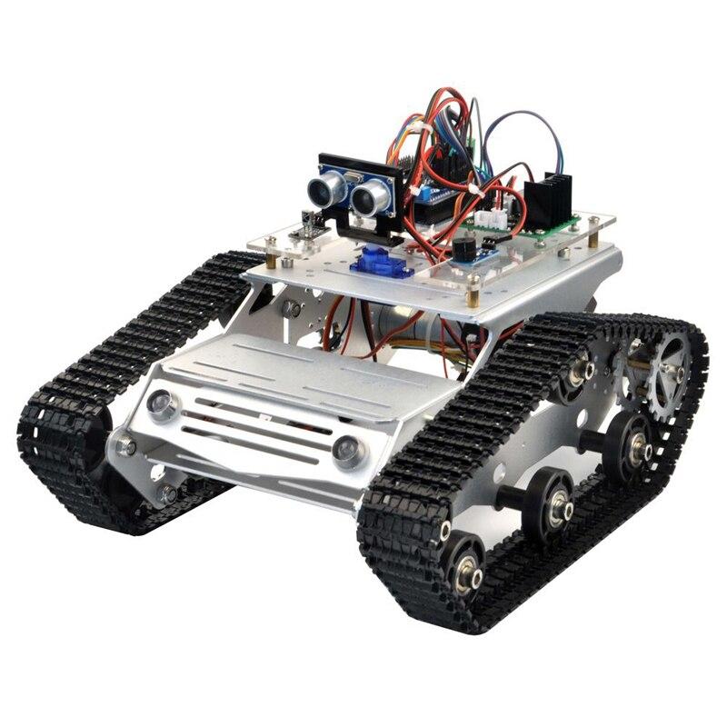 KOOKYE Robot Car Chassis Smart Tank Platform Metal Stainless Steel 2DW Motor 9V For Arduino / Raspberry Pi DIY(TR300)