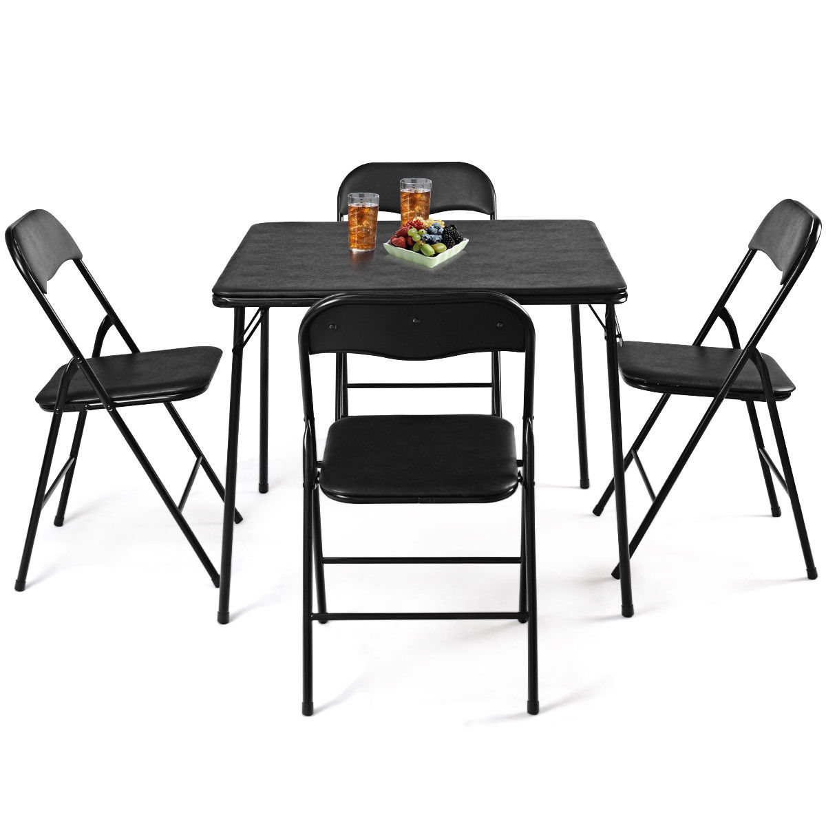 - Costway 5PC Black Folding Table Chair Set Guest Games Dining Room