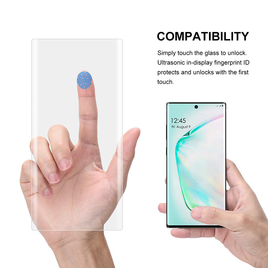 Tempered Glass For Samsung Galaxy Note 10 Note10 Pro Screen Protector fingerprint unlock UV Protector glass for galaxy note10 in Phone Screen Protectors from Cellphones Telecommunications