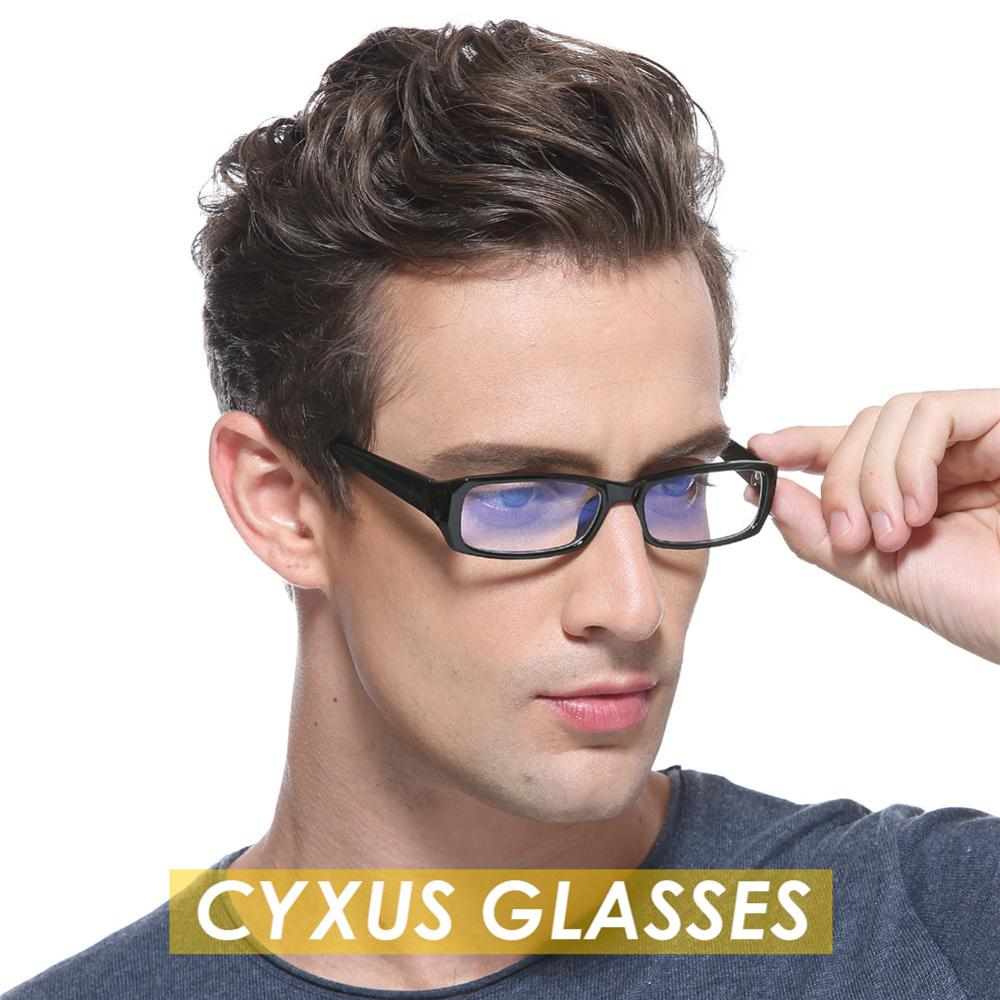 Cyxus Blue Light Blocking Glasses Computer Glasses Anti Eye Eyestrain  Rectangle Black Frame Clear Lenses Unisex ,Men/Women 8007