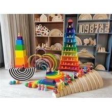 الأطفال خشبية قوس قزح كتل خشبية كرات الدمى قوس قزح بناء التراص كتل مونتيسوري اللون فرز لعبة تعليمية