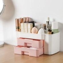 Plastic Makeup Organizer MakeUp Brush Storage Box With Drawer Cotton Swab Stick Storage Case Nail Art Tools Storage Box