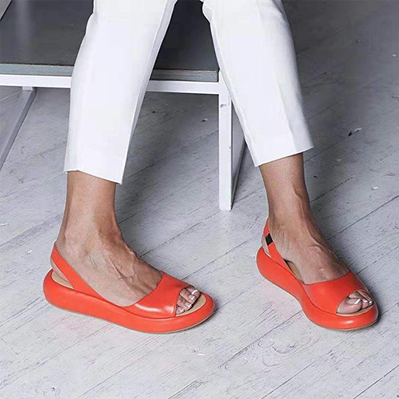 Women Elastic Band Flat Sandals Shoes Woman Peep Toe Slip On Female Summer Walking Shoes Ladies Back Strap Women's Plus Size