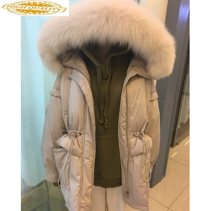 Winter White Duck Down Jacket Women Hooded Big Fox Fur Collar Korean Loose Women's Down Jackets Casacas Para Mujer