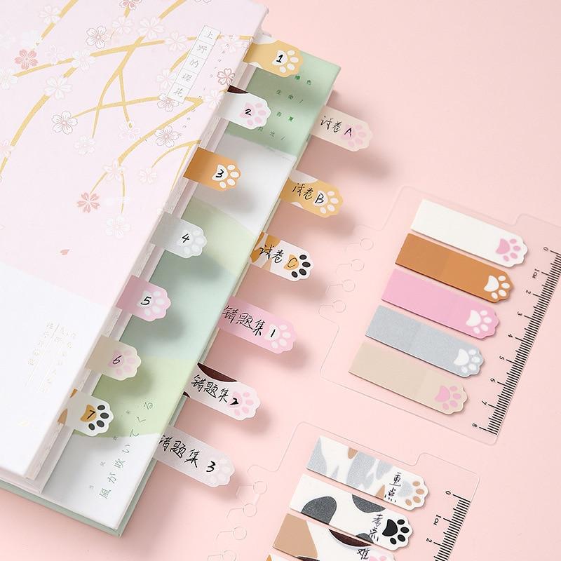 1 компл./лот бумага из блакнота для бумаги для заметок на клейкой основе с принтом «кошачий коготь» маленькая свежая Бумага дневник в стиле С...