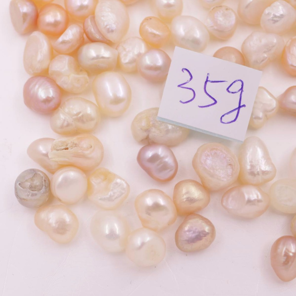 Купить с кэшбэком 35g 6mm-9mm Natural White Pink Purple Baroque Pearl Stone Loose Beads No Hole