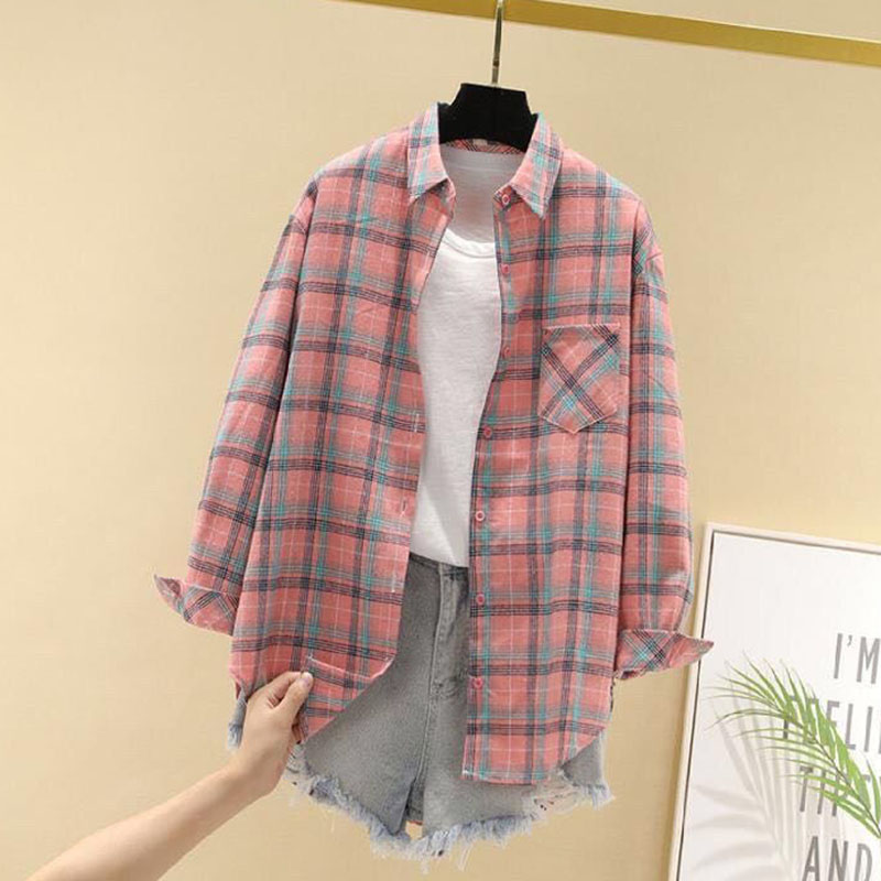 Women Spring Summer Style Blouses Shirts Lady Casual Long Sleeve Turn-down Collar Plaid Printed Blusas Tops ZZ0750 10