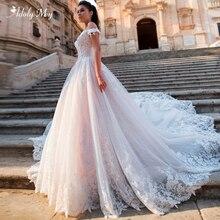 Adoly Mey glamuroso Apliques de encaje corte tren Línea A vestidos de boda 2020 de lujo cuello bote con cuentas vestido de novia princesa de talla grande