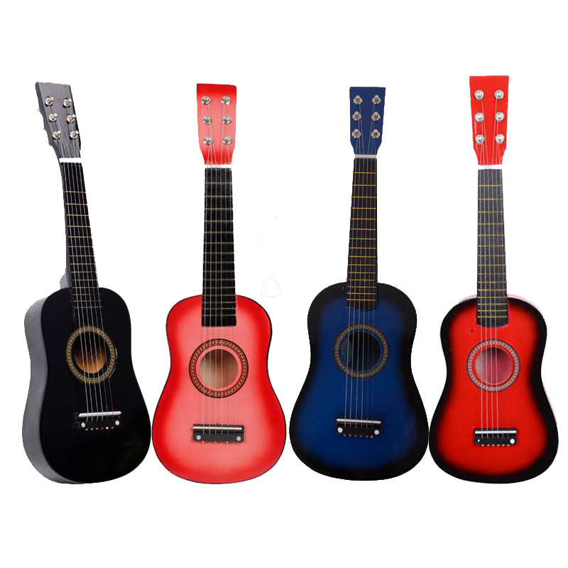 23 inch Acoustic Guitar for Beginners 6 Strings Wood with a guitar pick and string Sets Wood Guitar image
