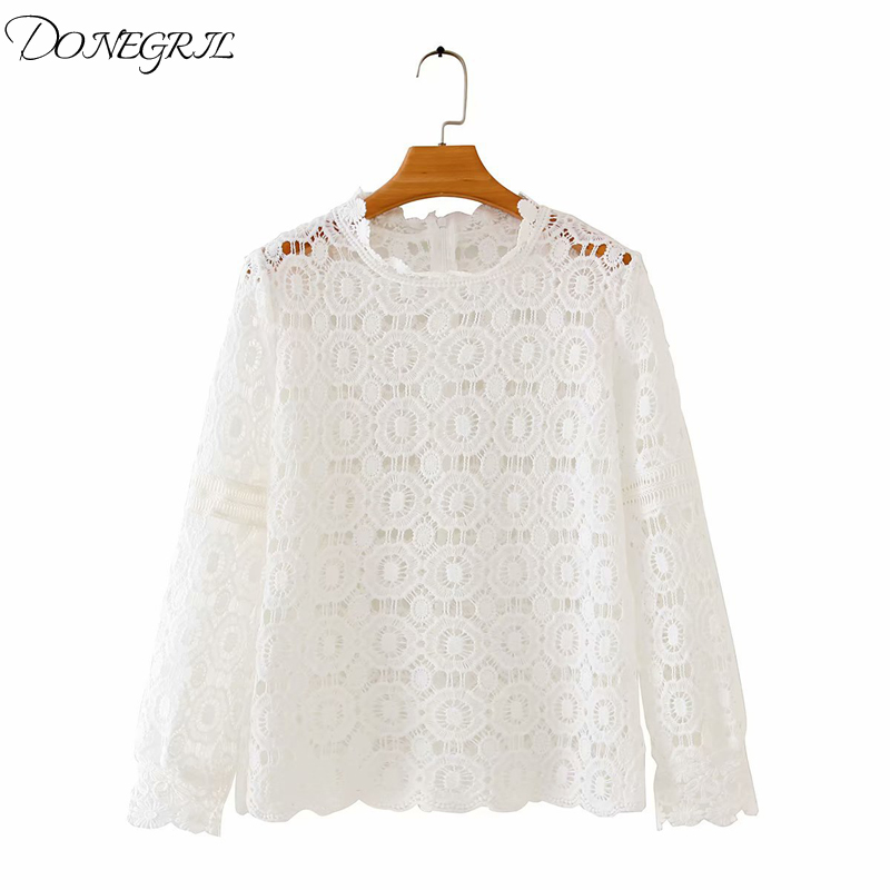 2020 Summer Women Lace Blouses Sexy Hollow Out Casual White Shirts Long Sleeve Elegant Tops Plus Size Blusas Feminina