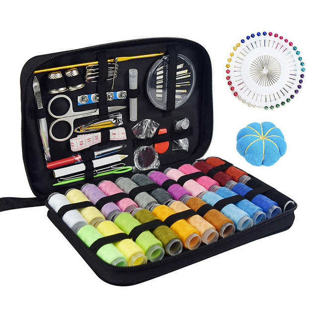 Sewing Kit Filled With Scissors Thread Spool Thimble Eyebrow Clip Measuring Tape Threaders 126 Accessories Travel Home Needle Th