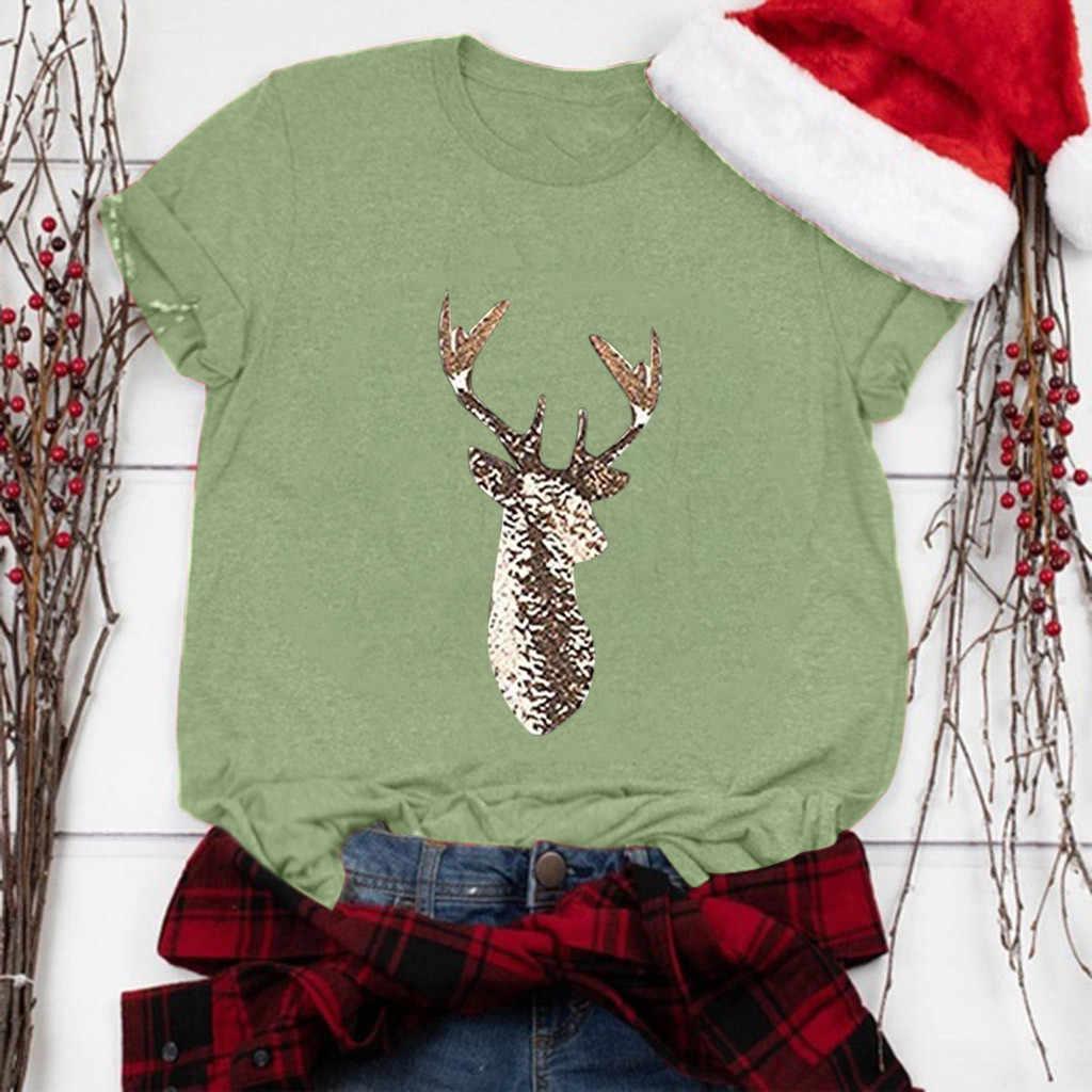 Vintage camisas mujer 2020 t koszula kobiety dorywczo nadruk świąteczny z krótkim rękawem O-Neck luźny t-shirt topy ropa mujer poleras