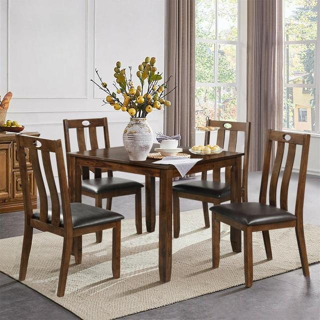 5-Piece Wood Square Dining Table Set  4