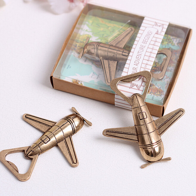 50pcs/lot Antique Air Plane Airplane Shape Wine Beer Bottle Opener Metal Openers For Wedding Party Gift Favors image