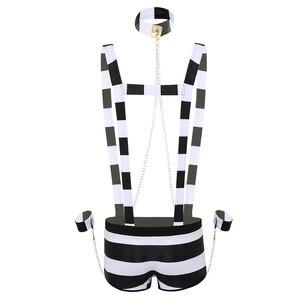 Image 2 - Men Adults Erotic Lingerie Prisoner Costume Role Play Night Wear Halloween Cosplay Lingerie Set Striped Suspender Boxer Shorts