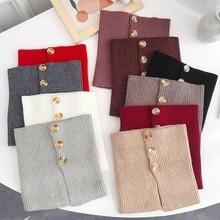 Scarf Turtleneck Fake-Collar False Decorative Buttons Knitted Vintage Solid-Color Women