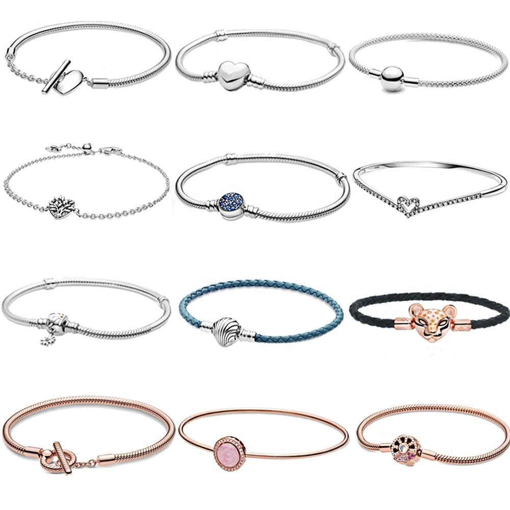 S925 Sterling Silver Charm Daisy Flower Blue Disc Clasp Snake Sparkling Bangle Heart T-Bar Snake Chain Bracelet Women Jewelry