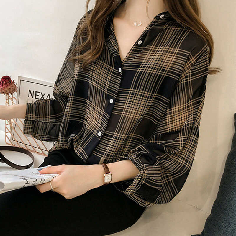 Vrouwen Losse Plaid Blouse Oversize Batwing Lange Mouw Mode Elegant Losse Chiffon Casual Shirts Knoppen Up Blouses Tops M-4XL