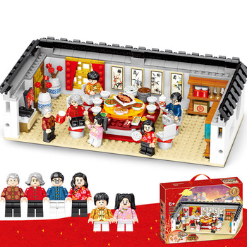 Chinese New Year Fun New Year Eve Model Kit Children Educational Diy Assembly Building Blocks Bricks Kids Toys Compatible R17 toys for children mechanical motocross model kit compatible legoing diy assembled educational building blocks brick kids new o05