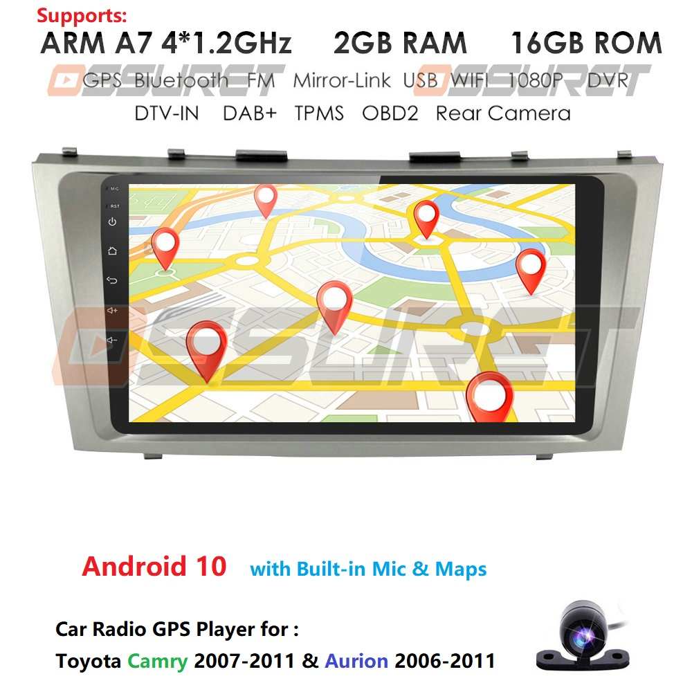 2din 9inch 2.5D Android CAR Radio Multimedia Player For Toyota Camry 2007 2008 2009 2010 2011 Aurion Navigation gps head unit pc