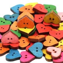 50 шт. деревянные пуговицы в форме сердца для одежды 2 отверстия швейная кнопка для рукоделия Скрапбукинг DIY аксессуары для одежды кнопка