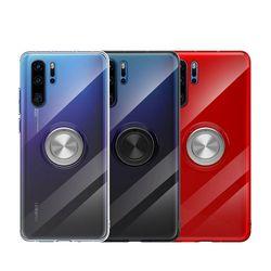 Wyczyść etui do Huawei P40 Mate 30 20 P20 P30 Pro Lite Nove 4 Slim miękki TPU metalowy pierścień tylna pokrywa magnetyczny Kickstand Shell