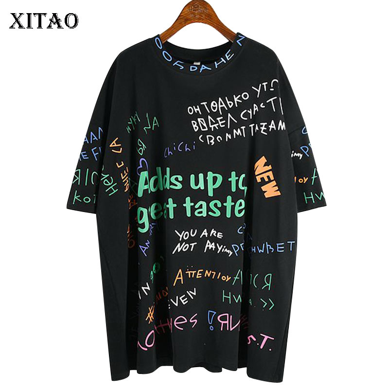 XITAO Print Letter T Shirt Fashion New Women 2020 Spring Pullover Goddess Fan Minority Minority Casual Loose Tee Top DMY3181